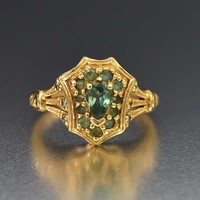 Amazing Antique 14K Gold Chrysoberyl Alexandrite Ring