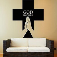 Wall Stickers Vinyl Decal God Cross Praying Symbol Religion Religious  Unique Gift (z1996)