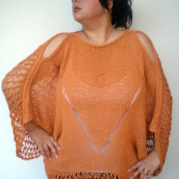 Orange Butterfly  Oversized Poncho Sweater  Hand Knit    Woman Trendy Lace Tunic  sweater Fall Woman Spring/Summer Collection NEW