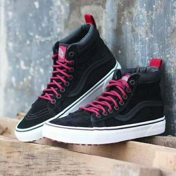 CREYONS Vans Black Red Ankle Boots Old Skool Canvas Flat Sneakers Sport Shoes G-CSXY
