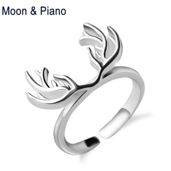 925 Sterling Silver Antler Ring  Deer Open Rings for Women  for Love Fine Jewelry Christmas Gifts New Arrival Free Shipping