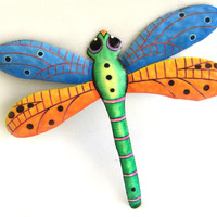 "Dragonfly Metal Art Wall Decor - Painted Metal Dragonfly Wall Hanging - Metal Wall Art - Outdoor Garden Decor - 24"" - F-1001-BL-GL-24"