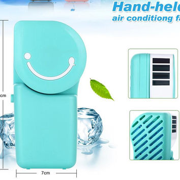 Portable Rechargeable Mini Handheld Fan with LED Light, Powered by Battery/USB Cooler Fan for Outdoor Travel Home