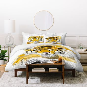 Casey Rogers Sleepy Tiger Duvet Cover