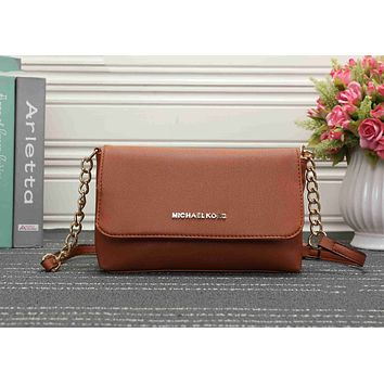MK Michael Kors Stylish Ladies Metal Leather Signature Buckle Satchel Crossbody Handbag Shoulder Bag Brown I-KSPJ-BBDL