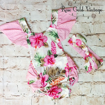 Flutter Sleeve Tropical Floral Romper with Headwrap (Infant)