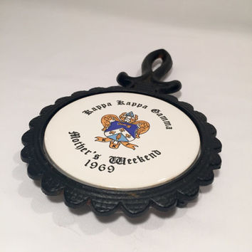Kappa Kappa Gamma Mother's Weekend 1969 Sorority Cast Iron Trivet/Sorority Gift