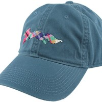 """Country Club Prep """"Longshanks"""" Needlepoint Hat in Breaker Blue by Smathers & Branson"""
