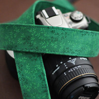 Floral Green Camera Strap for dSLR - fits Canon and Nikon etc - Digital Camera Strap Accessories