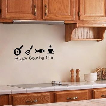 2015 Hot Sale Enjoy Cooking Time Creative Tile kitchen Wall stickers kitchen Sticker Wall Decals For kitchen