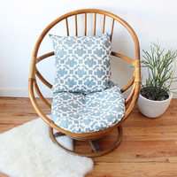 Rattan Swivel Egg Chair w/ Upholstered by GallivantingGirls