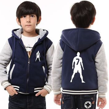Childrens Hoodie Winter NO.7 Thicken Fleece Hoodie Zipper Coat Unisex US EU Size