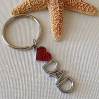 I love dad keyring, heart dad, gifts for dad, Fathers Day, gifts for him, keyrings for dad, keyrings for him, new dads