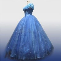 2015 New Sandy Princess Cinderella Women Blue Dress Cosplay Costume Adult