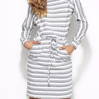 European Striped Pocket Jumper Gray and White Stripe