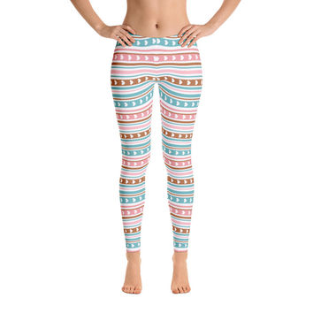 Colorful Pattern Heart Leggings for Women - Stylish Durable Novelty Leggings - Cut, Sewn, and Printed in California