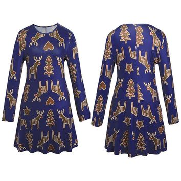 Xmas Print Swing Dress Ladies Christmas Long Sleeve Flared Party Dresses