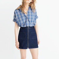 Denim Zip Mini Skirt