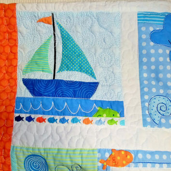 Nautical baby crib quilt - Whale Jellyfish Dolphin Blanket - Bedding - Ready to ship 30x38 - Beach quilt
