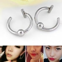 JOVIVI Body Piercing Fake Nose Rings Silvery Black Fake Piercings Finti Lip Stainless Steel Fake Ear Plug 2Pair(2BLACK 2SILVER)