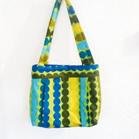 Tote Bag Travel Bag Market Bag Purse Marimekko Polka Dot in Olive, Gold and Aqua