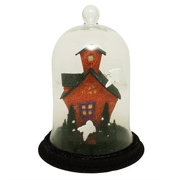"9"" Lighted Spooky Haunted House with Ghosts Decorative Halloween Dome Cloche"