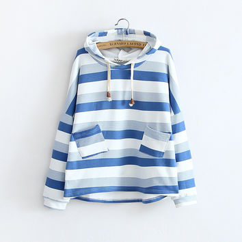 Womens Blue & White Cute Mori Girl Striped Hooded Sweatshirt Fall Hoodie Ladies Autumn Stripe Long Sleeve Jacket