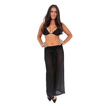 Women's Crinkle Pants Beach Cover Up w/ Drawstring WHITE (SM)