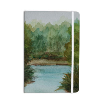 "Cyndi Steen ""Blue Lake Channel"" Green Watercolor Everything Notebook"