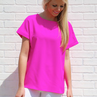 Radiate Happiness Blouse-Hot Pink