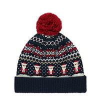 Santa-Patterned Pom Beanie