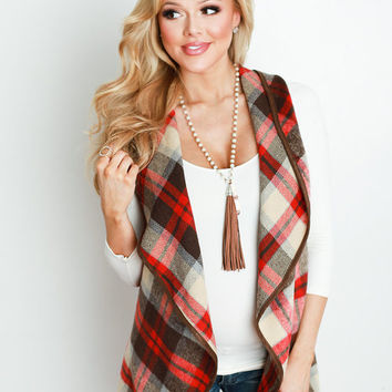 Plaid in My Heart Ruffle Trim Vest