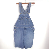 Denim Shortalls Vintage Romper Overall Shorts Festival Hippie Boho Slouchy Carpenter Pants Overalls The Limited Jeans M med medium 38 waist