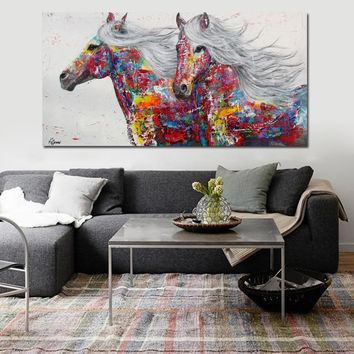 Graffiti Art Canvas Painting Wall Art Poster Print Modern Animal Two Horse Painting Printed On Canvas Wall Decoration No Framed