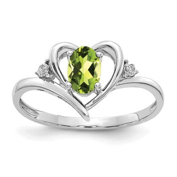 14K White Gold Peridot Diamond Ring