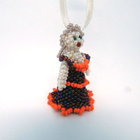 Beaded ball lady Christmas ornament - seed bead decoration - holiday decor - handmade beadwork tree hanging - small finger toy theatre doll