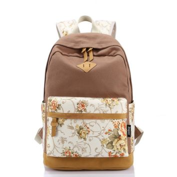 Leaper Casual Style Lightweight Canvas Laptop Backpack Cute Travel School College Shoulder Bag/Bookbag