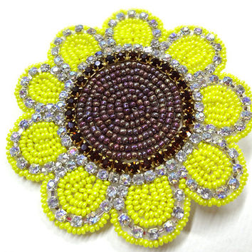 Summer Sunflower Hair Clip Beaded Yellow Brown Rhinestones