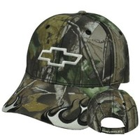 Chevy Chevrolet Velcro Constructed Camo Camouflage Flames Curved Bill Hat Cap