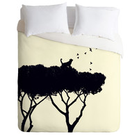 Belle13 Cat and Birds Duvet Cover