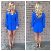 Royal Blue Long Sleeve Romper