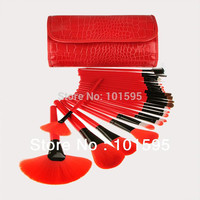 2014 New Red Makeup Brushes Set 24 pcs/set 24pcs Makeup Brushes Professional Makeup Tools Brand Cosmetics Facial Brushes