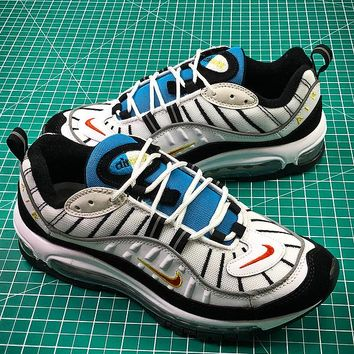 Nike Air Max 98 Retro White Blue Yellow 640744-004 Sport Running Shoes - Best Online Sale
