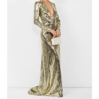 Dundas Open Back Sequin Gown - Gold Long Sleeves Gown
