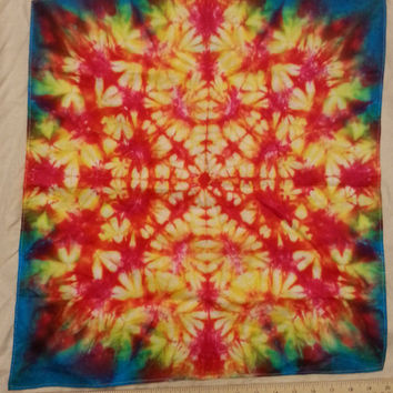 Tie Dye Bandana Fiery Red Orange Pattern