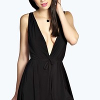 Suzy Extreme Low Cut Slinky Playsuit