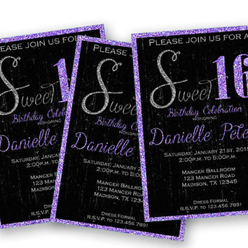 Lavender Purple Princess Sweet 16 Birthday Invitation - Purple Sweet 16 Party Invitations - Tiara Bling Sweet 16 - Purple - Grunge - Trendy