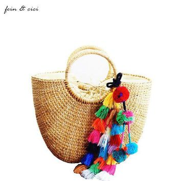 LMFGC3 beach bag straw totes bag bucket summer bags with tassels women handbag braided 2017 new arrivals spring and summer high quality