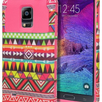 Galaxy Note 4, Hybrid Hot Pink Aztec Tribal Case Cover+Pink Silicone