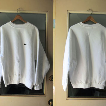 WHITE Nike Sweatshirt 80s 90s NIKE Slouchy Athletic Pullover Sweater Cotton Sports Sporty Prep Workout Top Minimal Simple Womens Large XL